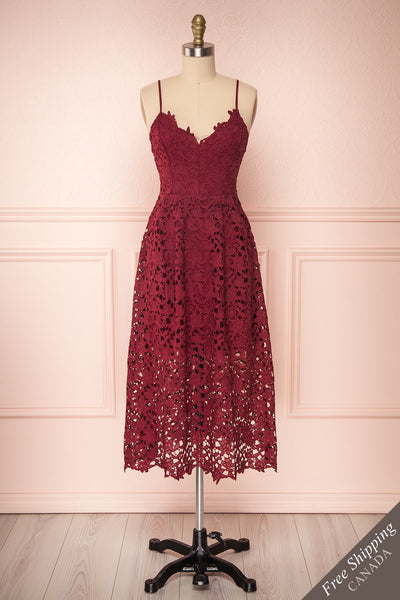 Carin Bourgogne Burgundy Lace A-Line Cocktail Dress | Front View | Boutique 1861