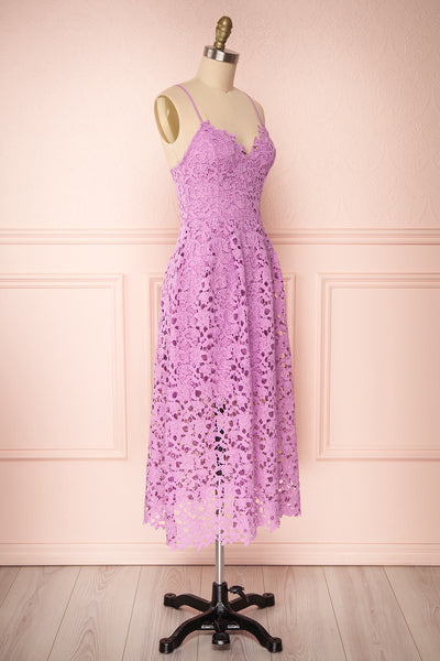 Carin Mauve Lilac Lace A-Line Cocktail Dress  | Side View | Boutique 1861
