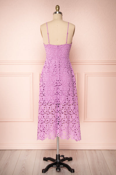 Carin Mauve Lilac Lace A-Line Cocktail Dress  | Back View| Boutique 1861