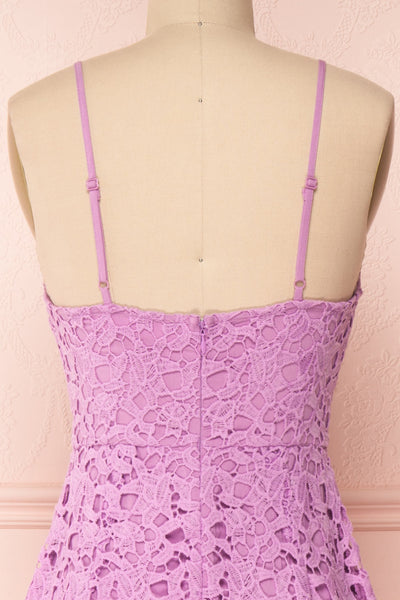 Carin Mauve Lilac Lace A-Line Cocktail Dress  | Back Close Up | Boutique 1861