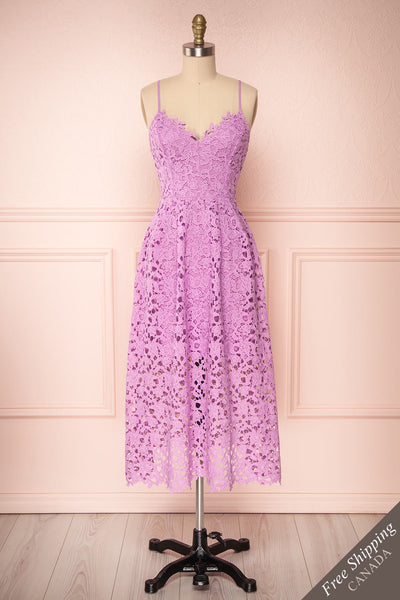 Carin Mauve Lilac Lace A-Line Cocktail Dress  | Front View | Boutique 1861