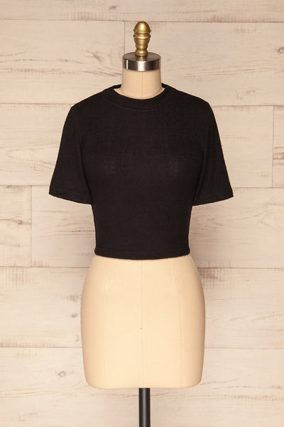 Carini Night Black Soft Knit Cropped T-Shirt | FRONT VIEW | La Petite Garçonne