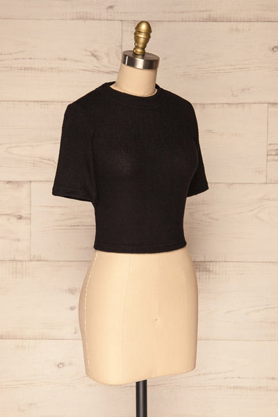 Carini Night Black Soft Knit Cropped T-Shirt | SIDE VIEW | La Petite Garçonne