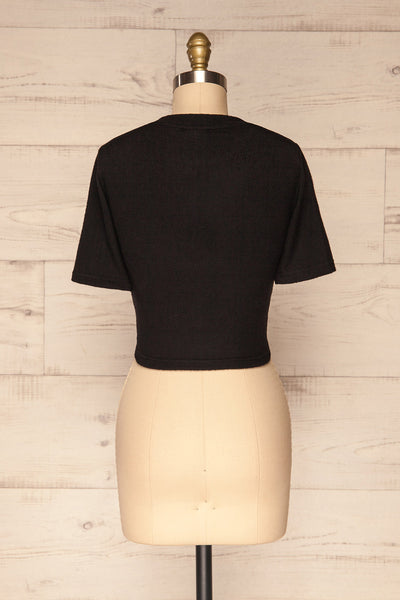 Carini Night Black Soft Knit Cropped T-Shirt | BACK VIEW | La Petite Garçonne
