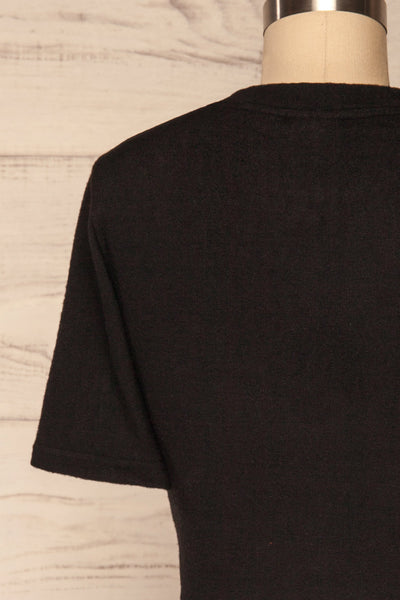 Carini Night Black Soft Knit Cropped T-Shirt | BACK CLOSE UP  | La Petite Garçonne