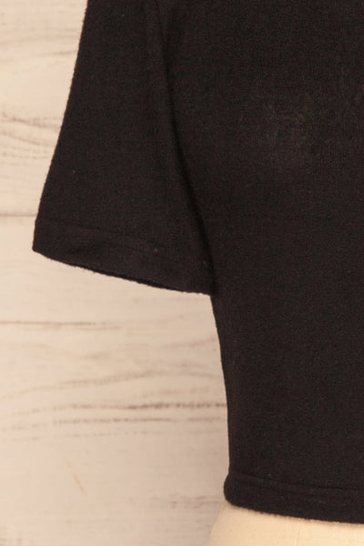 Carini Night Black Soft Knit Cropped T-Shirt | SLEEVE CLOSE UP | La Petite Garçonne