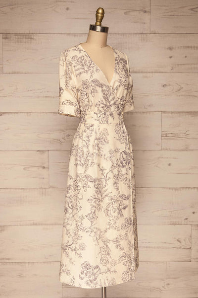 Cariyacu Off-White Floral Wrap Dress | La petite garçonne  side view