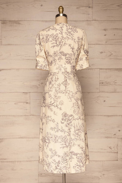 Cariyacu Off-White Floral Wrap Dress | La petite garçonne  back view