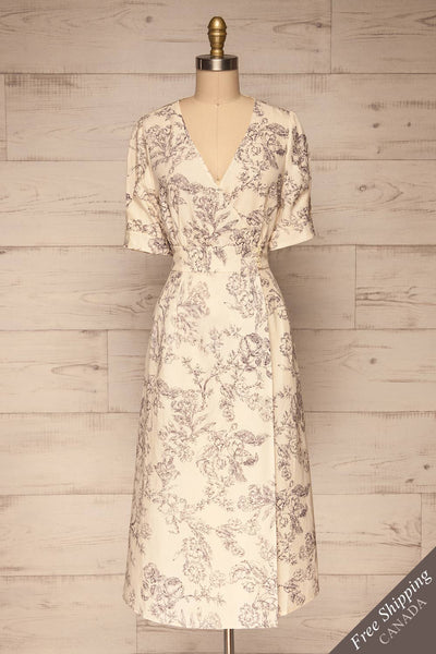 Cariyacu Off-White Floral Wrap Dress | La petite garçonne  front view