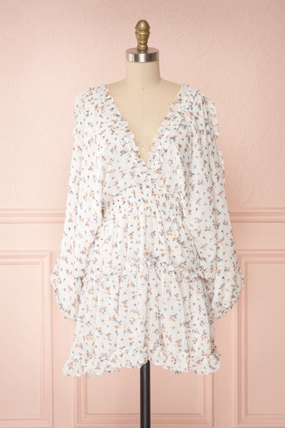 Carling White Floral Long Sleeve Dress | Boutique 1861