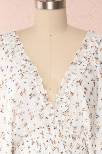Carling White Floral Long Sleeve Dress | Boutique 1861 front close up