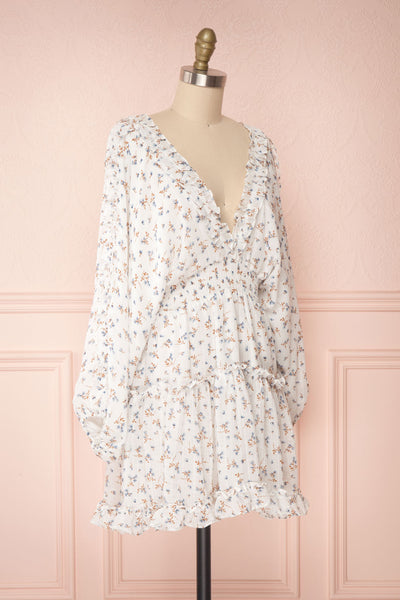 Carling White Floral Long Sleeve Dress | Boutique 1861 side view