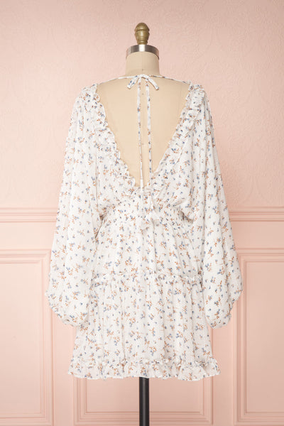 Carling White Floral Long Sleeve Dress | Boutique 1861 back view