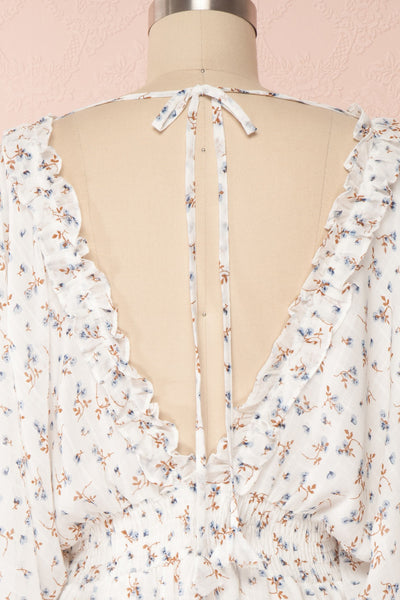Carling White Floral Long Sleeve Dress | Boutique 1861 back close up