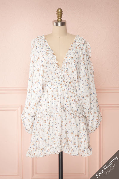 Carling White Floral Long Sleeve Dress | Boutique 1861 front view