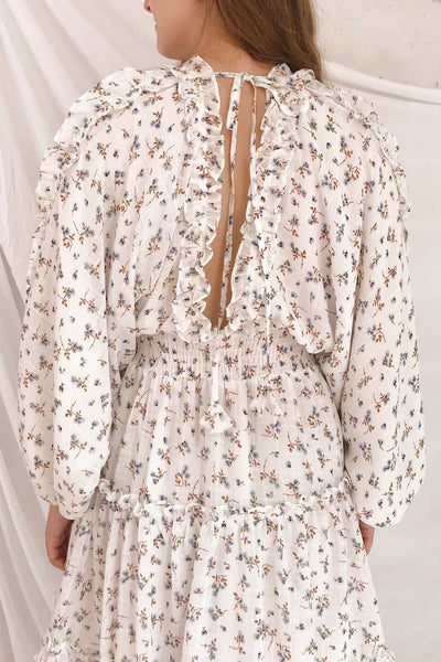 Carling White Floral Long Sleeve Dress | Boutique 1861 mnodel back