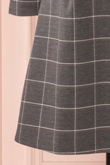 Carmelie Grey Plaid Retro A-Line Dress | Boutique 1861
