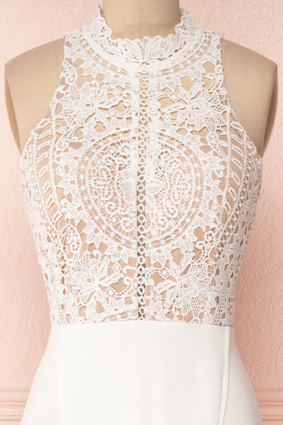 Carmen Ivoire White Lace Halter Bridal Dress | Boudoir 1861 front close-up