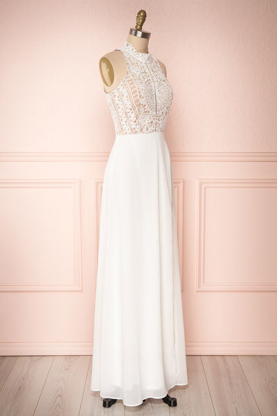 Carmen Ivoire White Lace Halter Bridal Dress | Boudoir 1861 side view
