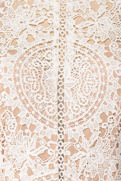Carmen Ivoire White Lace Halter Bridal Dress | Boudoir 1861 fabric detail