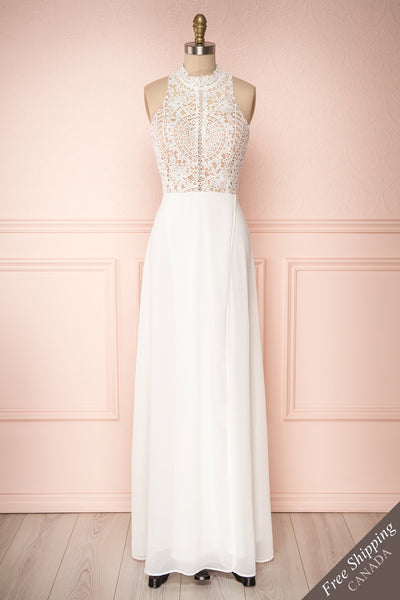 Carmen Ivoire White Lace Halter Bridal Dress | Boudoir 1861 front view