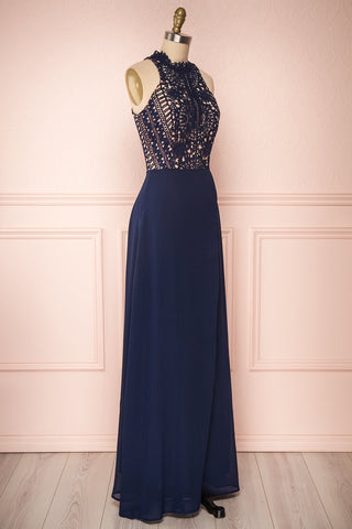 Carmen Marine Navy Blue Lace Halter Maxi Dress | Boudoir 1861 side view