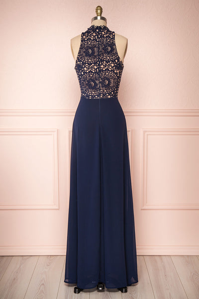 Carmen Marine Navy Blue Lace Halter Maxi Dress | Boudoir 1861 back view