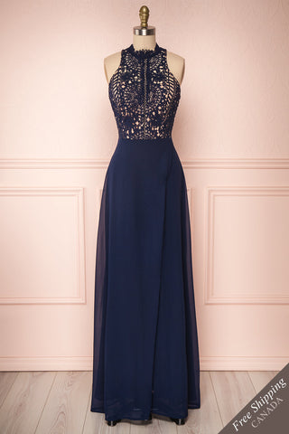 Carmen Marine Navy Blue Lace Halter Maxi Dress | Boudoir 1861 front view