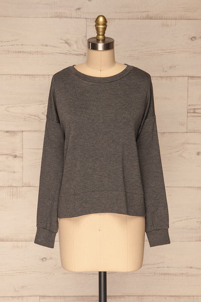 Cascajo Grey Long Sleeved Top | Chandail | La Petite Garçonne front view
