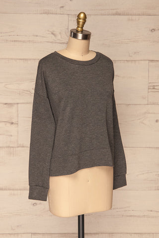 Cascajo Grey Long Sleeved Top | Chandail | La Petite Garçonne side view