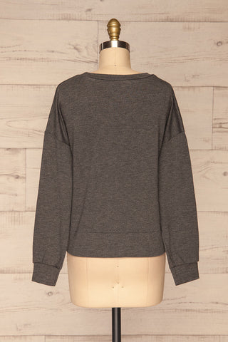 Cascajo Grey Long Sleeved Top | Chandail | La Petite Garçonne back view