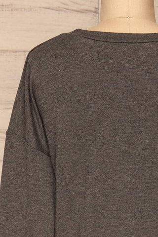 Cascajo Grey Long Sleeved Top | Chandail | La Petite Garçonne back close-up
