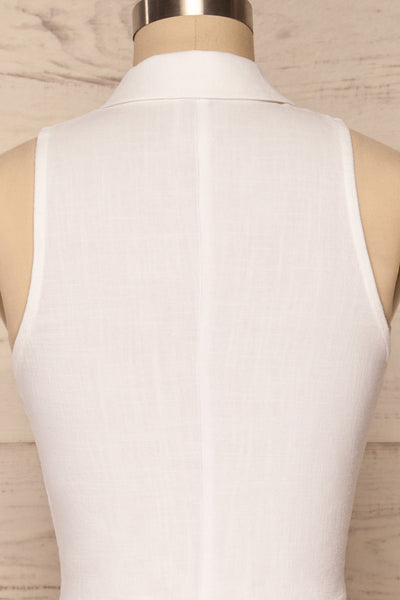 Cascarilla White Sleeveless Blouse | La petite garçonne back close up