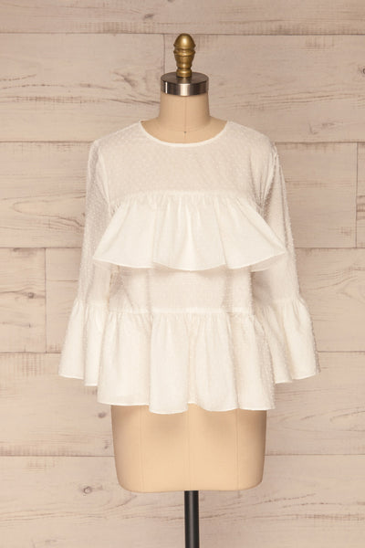 Cashapata White Embossed See-Through Ruffle Top | La petite garçonne front view