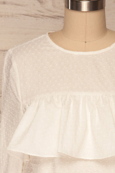 Cashapata White Embossed See-Through Ruffle Top | La petite garçonne close up