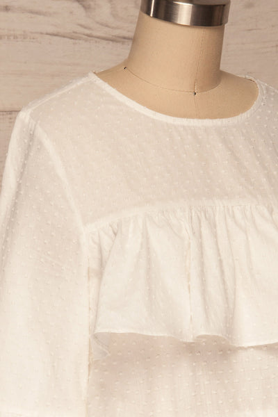 Cashapata White Embossed See-Through Ruffle Top | La petite garçonne side close up