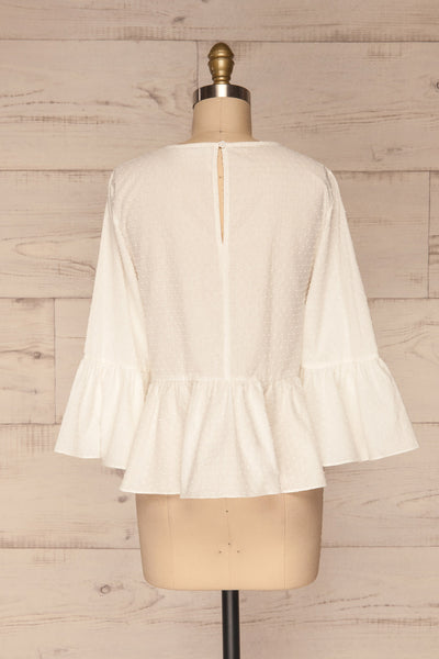 Cashapata White Embossed See-Through Ruffle Top | La petite garçonne back view