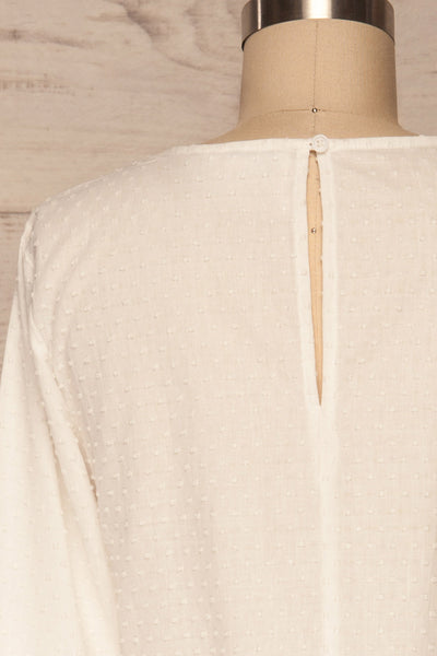 Cashapata White Embossed See-Through Ruffle Top | La petite garçonne back close up