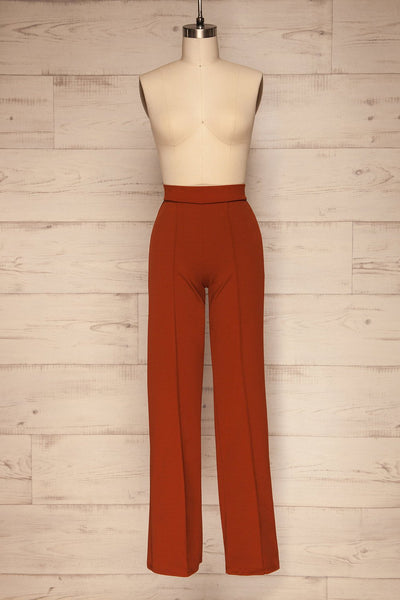 Casita Rust Orange High-Waisted Pants front view | La petite garçonne