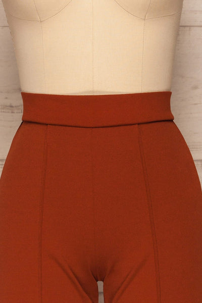 Casita Rust Orange High-Waisted Pants front close up | La petite garçonne