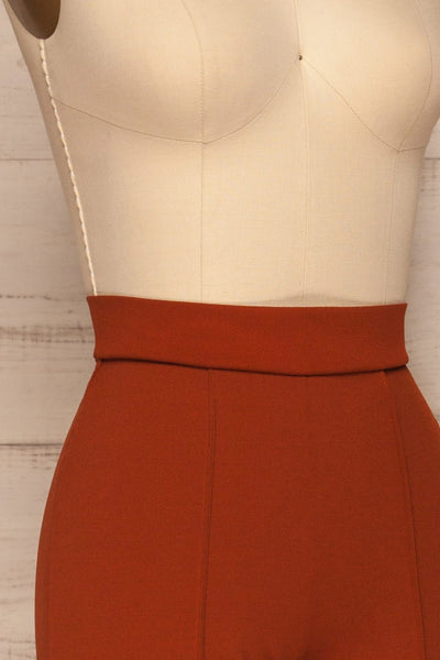 Casita Rust Orange High Waisted Pants side close up | La petite garçonne