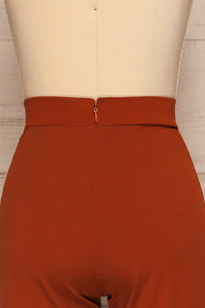 Casita Rust Orange High Waisted Pants back close up | La petite garçonne
