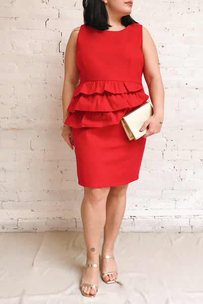 Cassandre Red Felt Cocktail Dress w/ Ruffles | Boutique 1861 model look