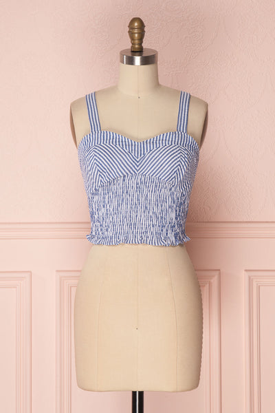 Castalia Blue & White Ruched Crop Top | Boutique 1861 1