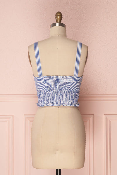Castalia Blue & White Ruched Crop Top | Boutique 1861 5