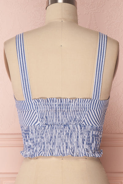 Castalia Blue & White Ruched Crop Top | Boutique 1861 6