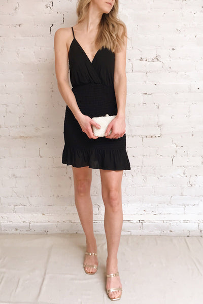 Catambas Black Ruffled Cocktail Dress | La petite garçonne on model