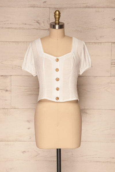 Catarama Cloud White Button-Up Crop Top | La Petite Garçonne front view