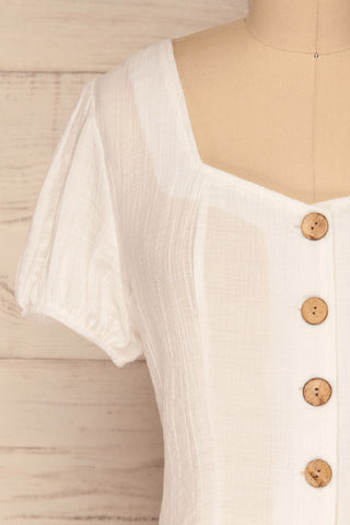 Catarama Cloud White Button-Up Crop Top | La Petite Garçonne front close-up