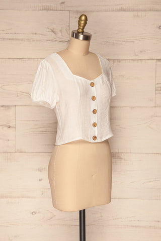 Catarama Cloud White Button-Up Crop Top | La Petite Garçonne side view